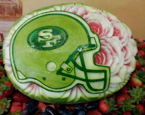 One Mariano Orozco's football watermelon carvings - 49ers