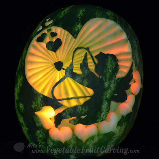 Cupid in Heart Watermelon Carving for Valentine's day