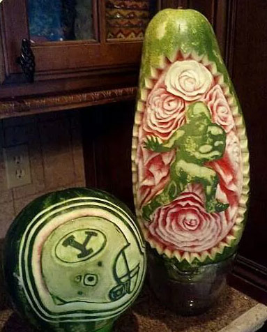 Football themed watermelon carvings