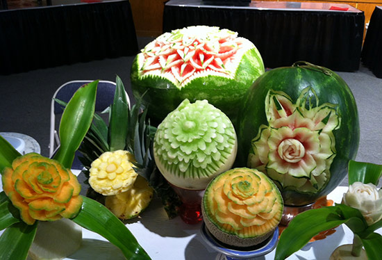 Carved fruit and vegetable displays by students of video