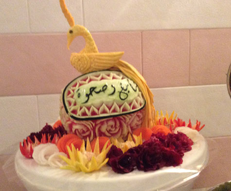 carved watermelon with bird by Saada