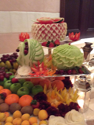 Wedding fruit display with watermeleon cake