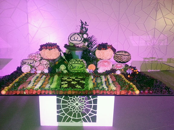 modern fruit carving display for weddings