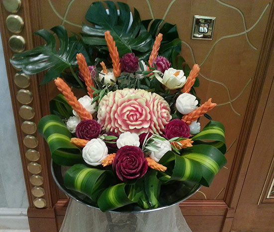 one of Saada's fruit carving displays for weddings