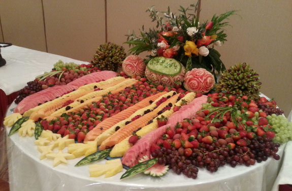 Fruit table display at wedding