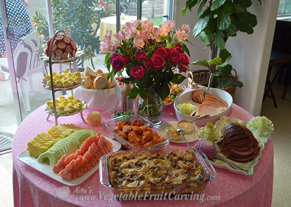 Buffet table with Easter garnishes