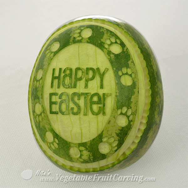 Happy Easter Watermelon Carving with simple scalloped edge