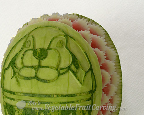Easter bunny watermelon carving close up of jagged petals