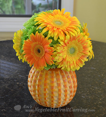 basket weave pumpkin flower vase