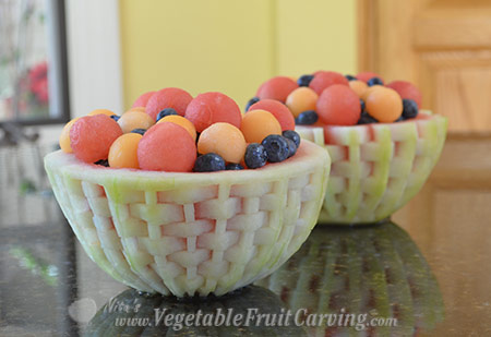 watermelon baskets with fruit salad