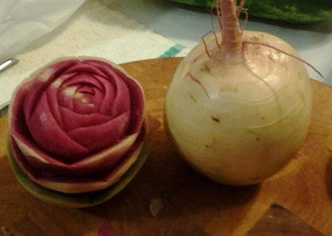 watermelon radish flower by ric