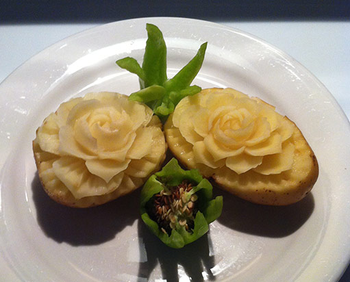 Jovilyn's carved potato flowers