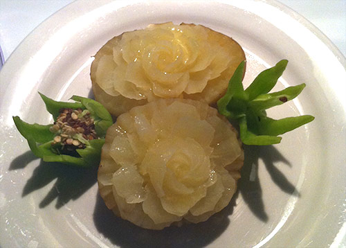 cooked carved potato flowers