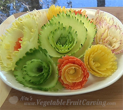 vegetable carving flowers made with wavy peeler and curler