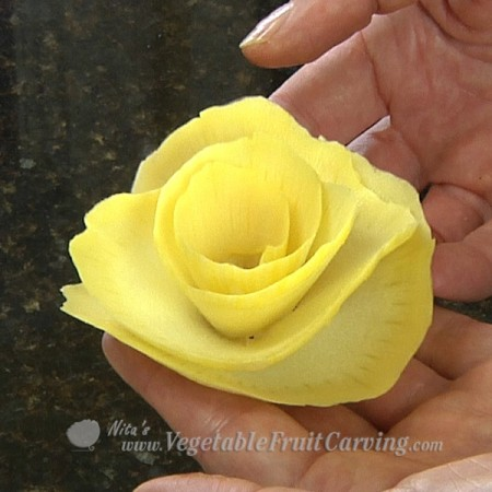 yellow rose made with vegetablecurler