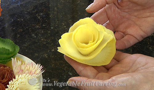 Simple yellow squash flower made with the Vegetable Curler