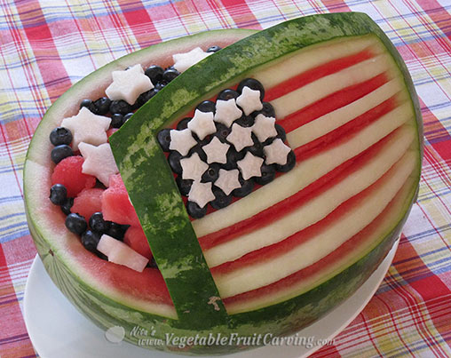 Nita's Amercan Flag watermelon fruit salad bowl