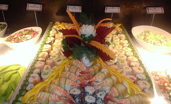 One of Henry's dramatic sushi displays