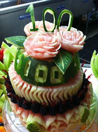 100th birthday cake of fresh fruit by Susan Belden