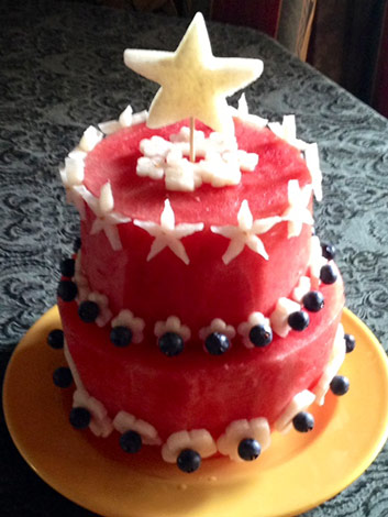 4th of July watermelon cake by Joelybelle