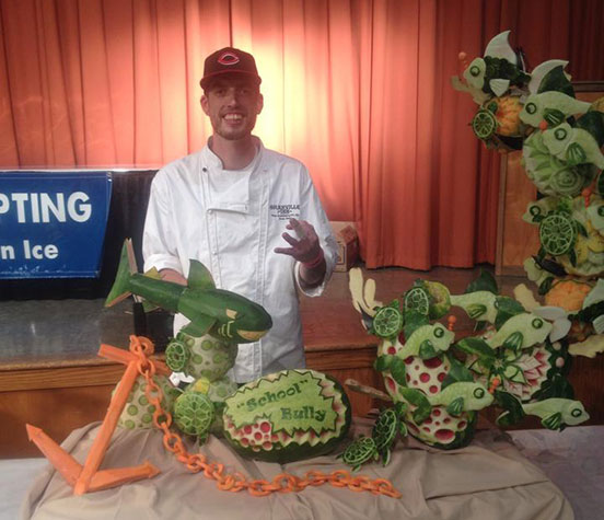 Titus Arensberg has won several fruit carving competitions.