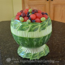 completed leaf pattern watermelon bowl