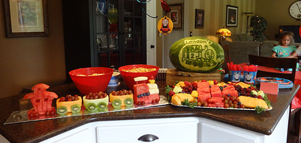 Thomas the Tank Engine watermelon and grape train by Cindy Rozich