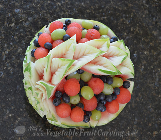 watermleon basket filled with fruit