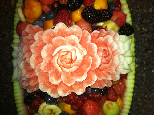 another example of watermelon fruit salad baskets by Larry Slawson