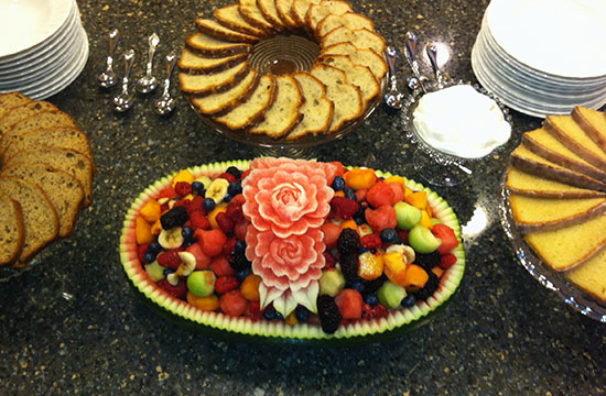 watermelon fruit salad basket in buffet