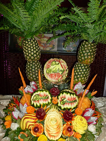 Panayiota Thoma winner of Most Elegant Category in online watermelon carving contest