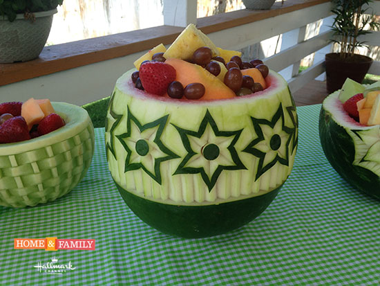 Closer look at Nita's Star Flower Watermelon Bowl on Hallmark Channel's Home and Family Show