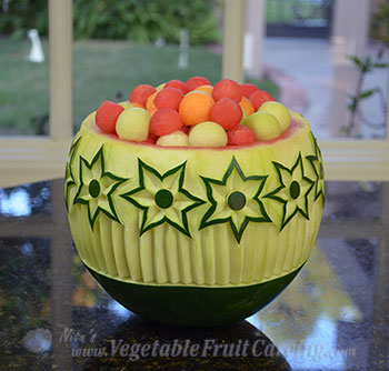 star flower bowl with melon ball fruit salad