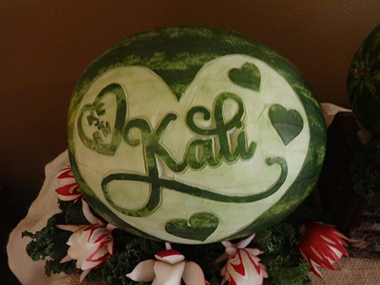 Kali watermelon carving with birde's name