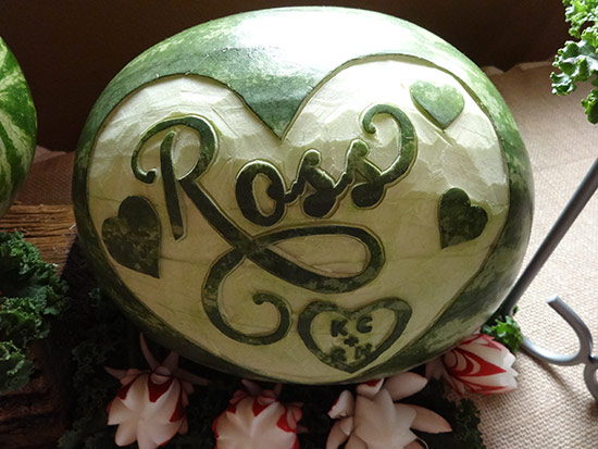 watermelon-carving with groom's name for Western style wedding reception