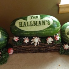 Western Themed wedding reception carvings