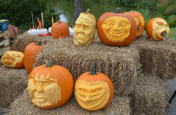 3D pumpkin faces on display