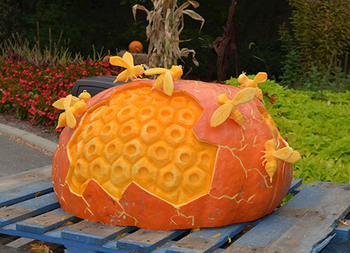 3d pumpkin sculpture bee hive by Titus Arensberg