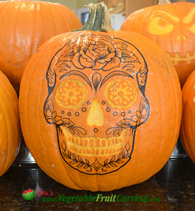 dead of the dead pumpkin skull