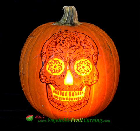 skull pumpkin day of the dead