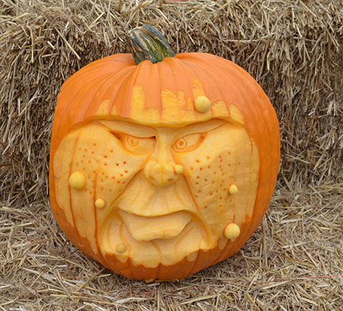 warty 3D face pumpkin