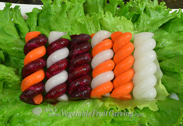 striped vegetabel garnishes