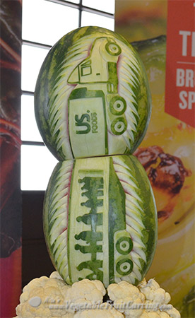 Closer look at the US. Foods truck carved on watermelons.
