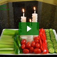 Christmas vegetable candle arrangement