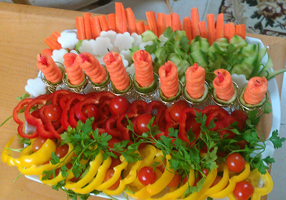 Menorah vegetable tray