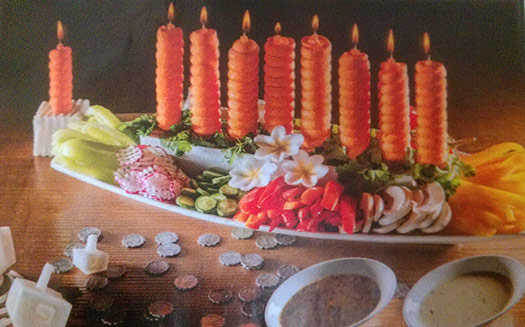 carrot menorah for Hanukkah