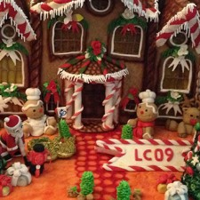 gingerbread scene close up details