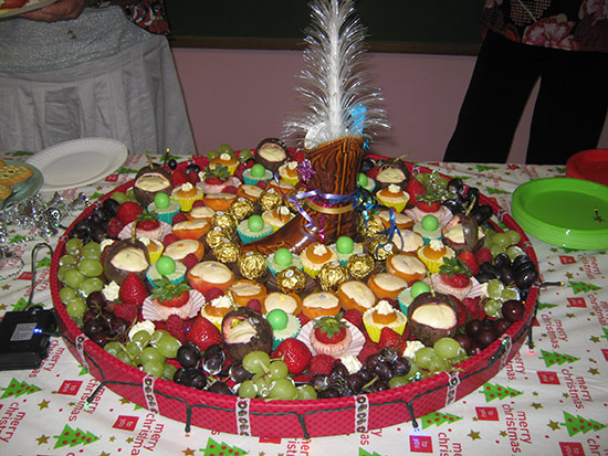 Sue's lighted holiday dessert platter
