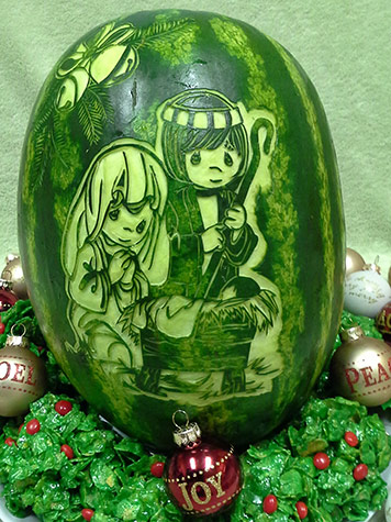 nativity scene watermelon carving