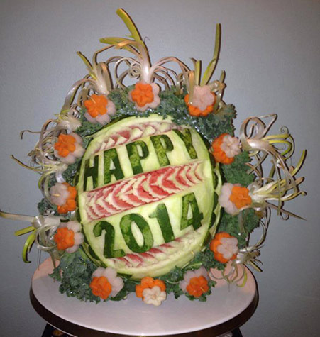 New Year fruit carving by Najwa Dorgali